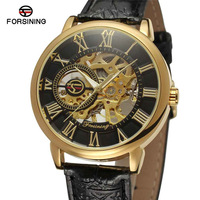 FORSINING 3D Logo Design Hollow Engraving Black Gold Case Leather Uhr Skeleton Mechanical Watches Men Luxury