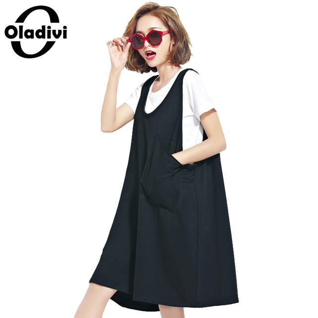 6dd87d3a034 Oladivi Plus Size Woman Clothing Fashion Ladies Casual Sleeveless Vest Tank Sundress  Female Dress Long Tops Shirts Tunic Vestido