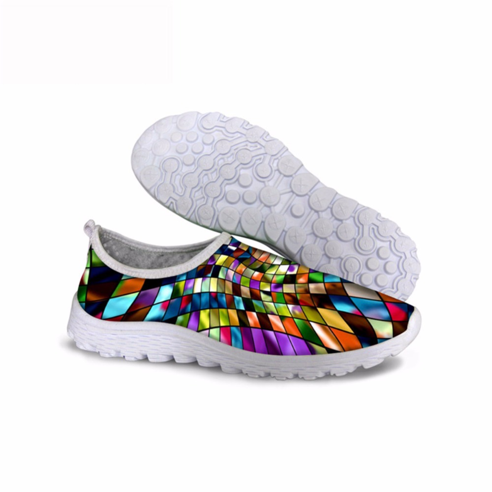 Noisydesigns Beautiful bright inkjet spring fashion printed women shoes for girls 3D summer air mesh gym sneakers hiking running
