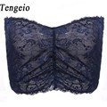 New Summer Women Tube Top Sexy Blue Black Strapless Lace Sleeveless V Neck Floral Printed Crop bandeau tube tops Bandeau Top 6AM