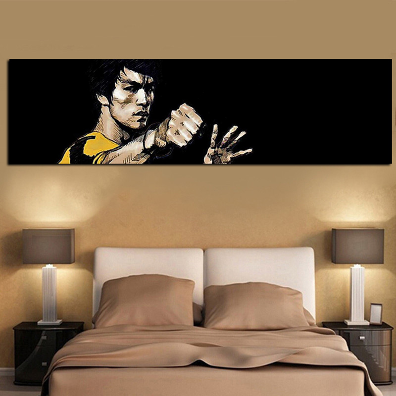 Hot Sale Digital Print Berömd Bruce Lee Oljemålning HD Print på Canvas Wall Pop Art för Living Room Soffa Cuadros Decor Unframed