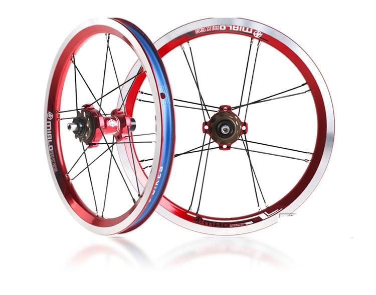 Ultralight 756g Mialo 14 inch Folding Bike Wheelset BYA412 wheels BMX Wheelset BMX Parts