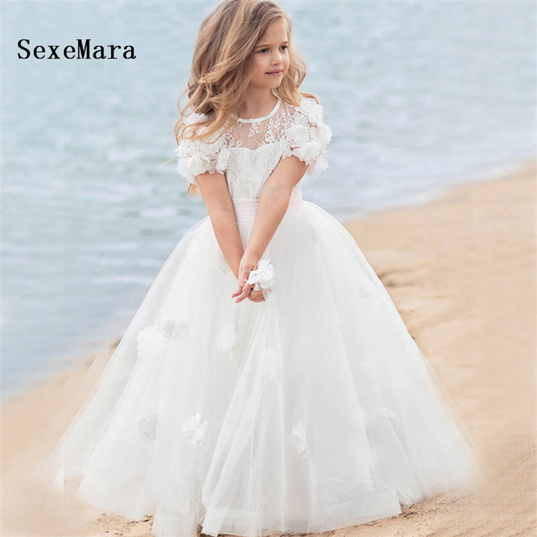 b48ff774130f9 New Sky Blue Girls Dresses White Lace Tulle Little Girls Formal Wear  Birthday Party Dress Size 2 4 6 10 12 14Y - aliexpress.com - imall.com