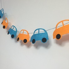 Freeshipping 3 Meter Felt Cartoon Birthday Party Decoration Cars Banner Bunting for Children kids supply fabric