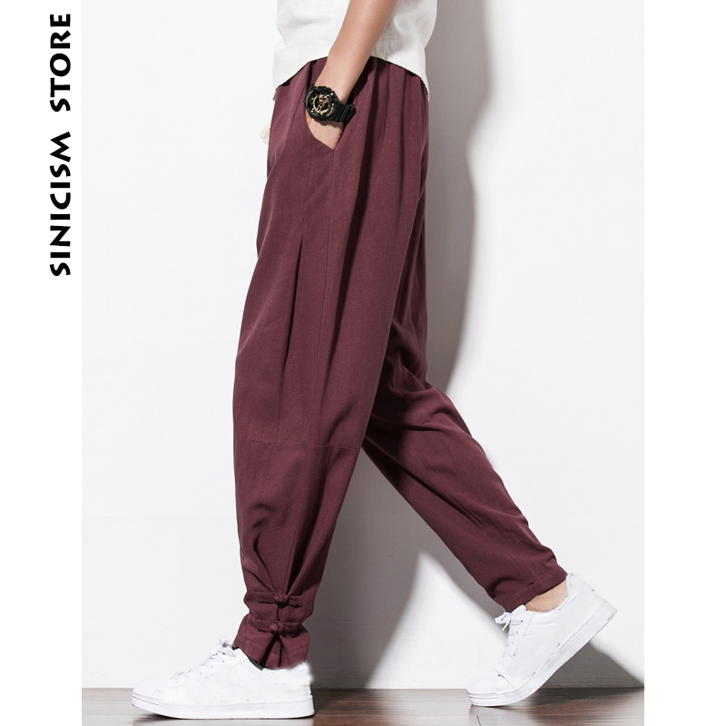 Sinicism Store Plus Size Mens Cotton Linen Harem Pants Mens Jogger Pants 2018 Male Casual Summer Track Pants Straight Trousers