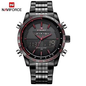 Image 2 - ساعات يد للرجال من NAVIFORCE ساعة كوارتز من الفولاذ بالكامل ساعة تناظرية LED رقمية ساعة يد رياضية عسكرية ساعة رجالية