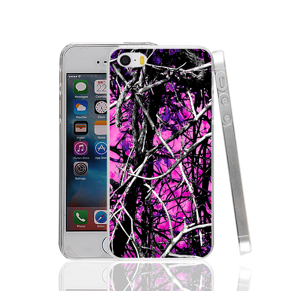 17078 camo trees purple pink fashion hard transparent Cover Case for Apple iPhone 4 4S 5 5S 5C SE 6 6S Plus