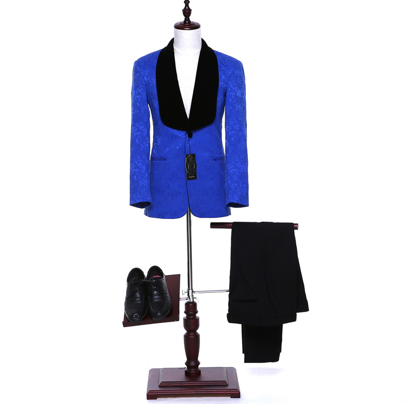 mens classic suits Italy Mens Classic Suits Royal Blue Floral Mens Suits Wedding Groom Formal Wear Groomsmen Tuxedo Prom