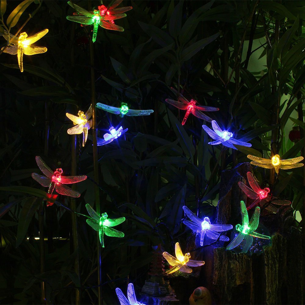 20 LED Solar Fairy String Light Colorful Dragonfly Outdoor Garden Decor Lamp