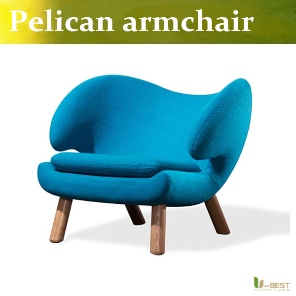 U-BEST Nordic lounge chair single seat Cafe sofa Finn Juhl pelican chair solid wood lounge chair Blue cashmere sofa chair nordic small unit single fabric sofa chair cafe bedroom casual solid wood chair