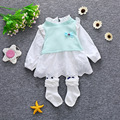 2016 new summer dress baby girl dress princess dress children's clothing brand cotton lace girls 1-4 years old free shipping
