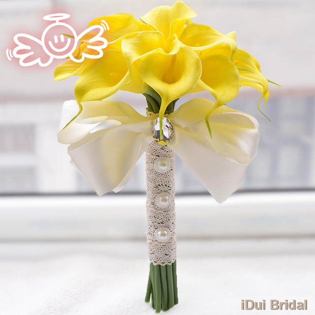 Calla Flower Bridal Bouquet with Crystal Rhinestone Handle Wedding Guest Hand Flower Maid of Honor