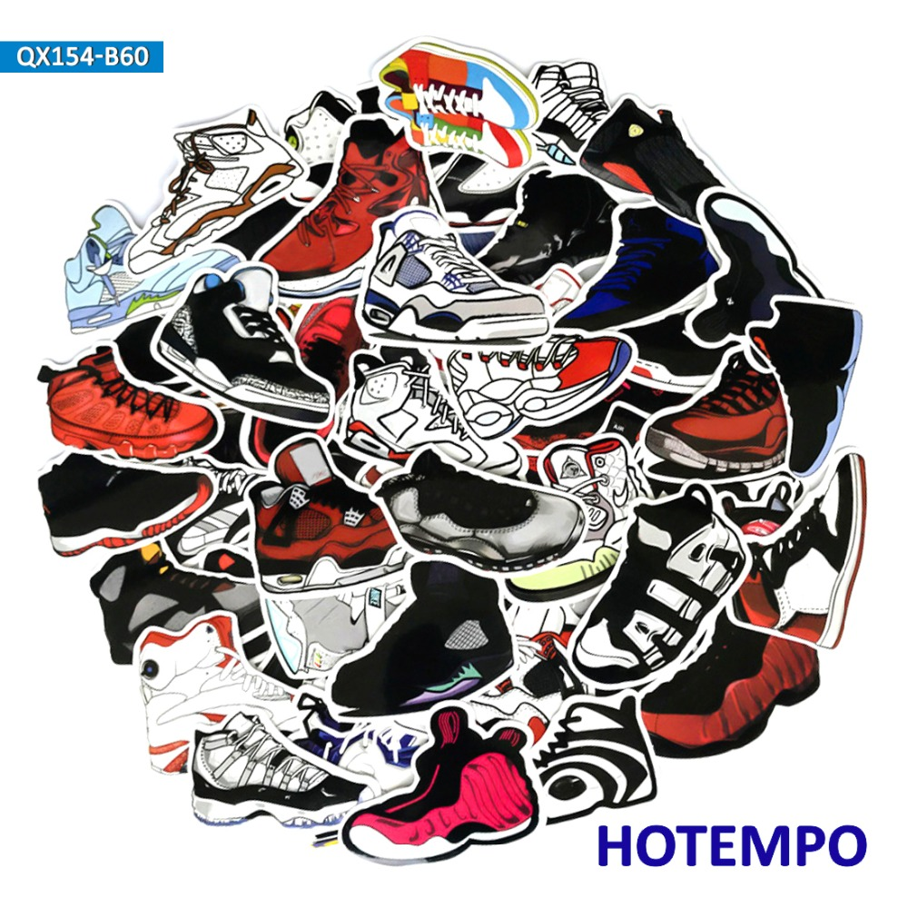 60pcs Retro Basketball Sneakers Mix Stickers No Repeat Shoes For Mobile Phone Laptop Pad Luggage Guitar Case Skateboard Stickers