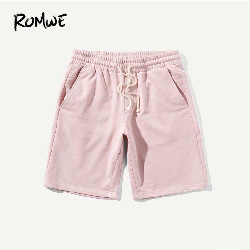 ROMWE Men Drawstring Waist Pocket Shorts 2019 Pink Solid Mid Waist Summer Mens Shorts Fitness Man Straight Leg Short Pants
