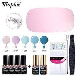 Maphie 12Pcs/Lot Gel Polish Nail Set SUNmini UV Nail Dryer Led Lamp For Beigner User Semi Permanent Varnish Kits Base Top Coat