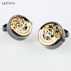 Image 3 - Low key Luxury Functional Watch Movement Cufflinks Lepton Stainless Steel Steampunk Gear Watch Mechanism Cufflinks for Mens