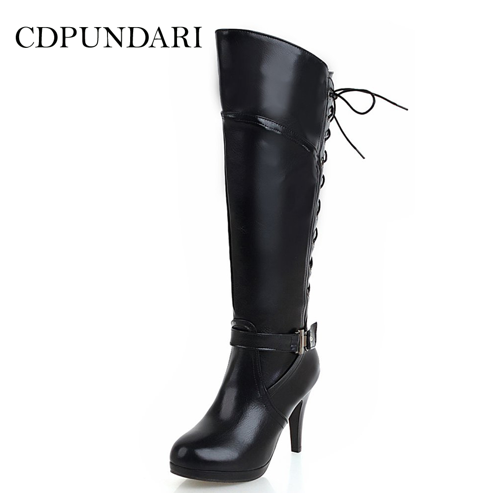 CDPUNDARI Round Toe Knee High boots women Winter boots shoes Ladies Cross tied High heels boots black brown red whiteCDPUNDARI Round Toe Knee High boots women Winter boots shoes Ladies Cross tied High heels boots black brown red white