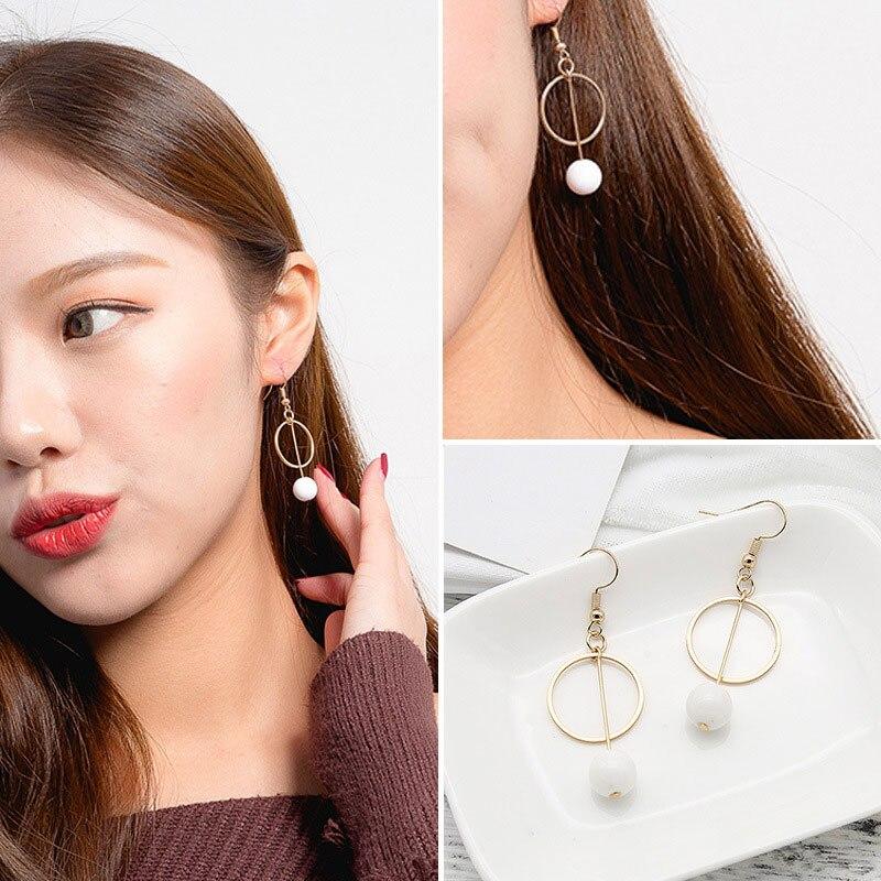 Pendientes Flecos 2018 Korean Elegant Women Long Earring CZ Pearl Charm Pendent Snake Chain Tassel Earrings Q47 gold earrings for women