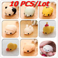 10 PCS/Lot Kawaii Animal Slow Rising Squishy Panda/tiger/pig/sheep/duck/rabbit/chick Cute Phone Straps Soft  Bread Cake Kids Toy