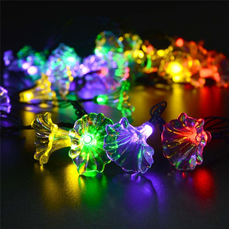 Christmas Flower Solar Lamp Light String 16ft 30led Morning Glory String Lights Decorative Outdoor Lighting For