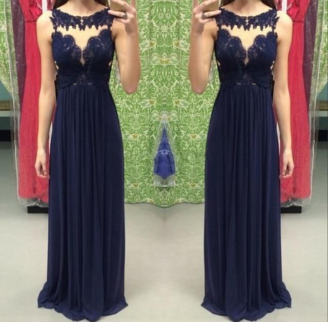 ef1bdcbbb7 Azul marino una línea vestido de noche 2016 Vestidos de fiesta apliques de  gasa piso longitud