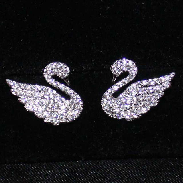 Allergic Free Women's 925 Sterling Silver Pin Stud Earring Simulated Diamond CZ Stone Pave Setting Swan Earrings for Women