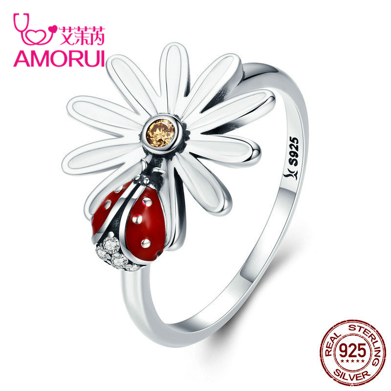 AMORUI Fashion AAA CZ Stone 925 Silver Flower and Ladybug Wonderland Finger Rings for Women femal Jewelry Gift Dropshipping