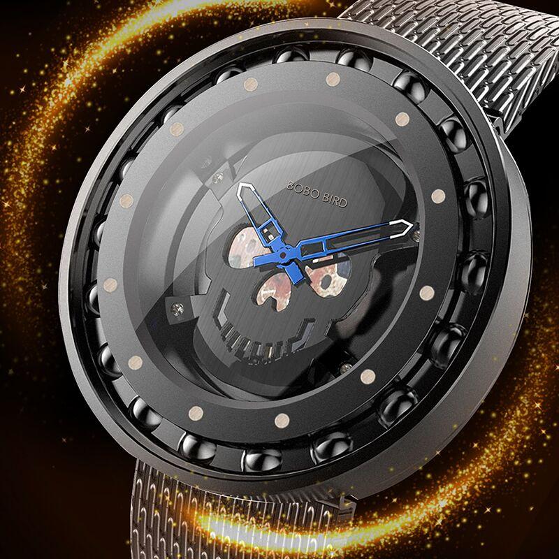 BOBO BIRD Q21 Mens Quartz Watch 360 Degree Rotation Bearing Design Stainless Steel Wristwatch Skull Dial Watches relogio homens