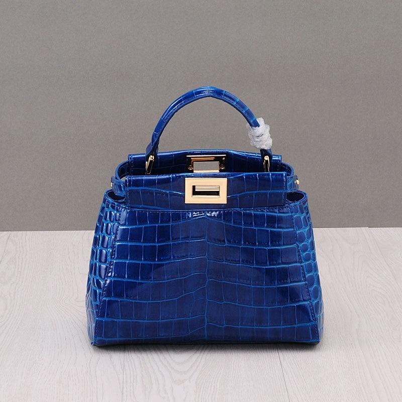 купить PRAVESDA fashion genuine leather alligator style women's handbags luxury shinny tote bags cut flap handbags по цене 4984.22 рублей