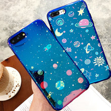 Cyato Moon Star Cases For iPhone 8 Plus for iphone 7 6 6S Blu-Ray Cover X Cute Planet Universe Couple
