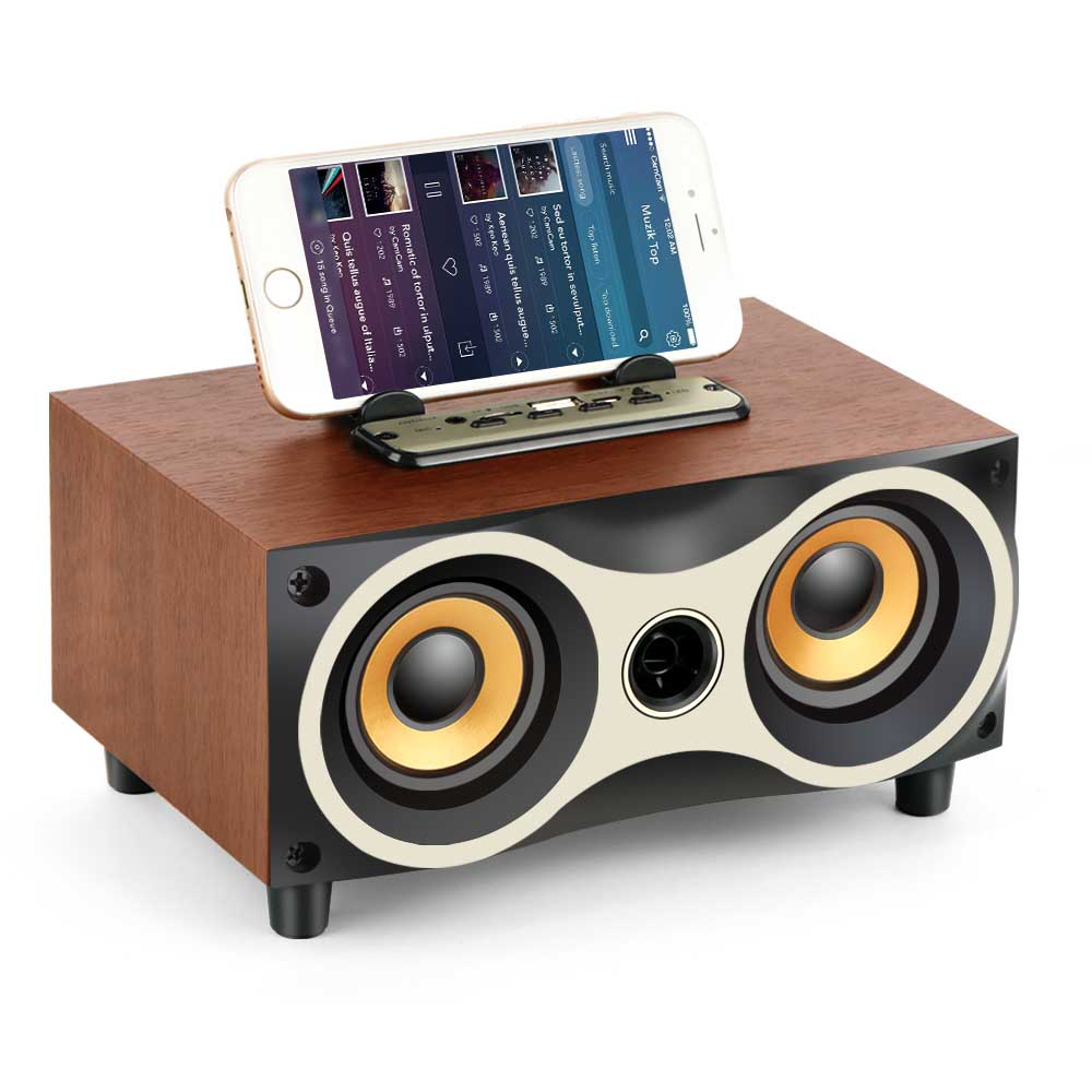 Desktop caixa de som for iPhone Android TOPROAD Portable Wooden Wireless Speaker Subwoofer Stero Bluetooth Speakers