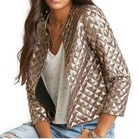 2017 New European And American Women Golden Brown Jacket Rhombus Full Sequins Jacket Wild Self Cultivation