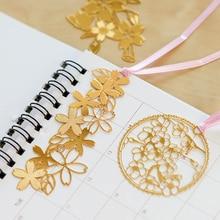 2017 New Beautiful Sakura Design Bookmark Metal Creative Mini Brass Book Mark Clip DIY Notebook Diary Accessory