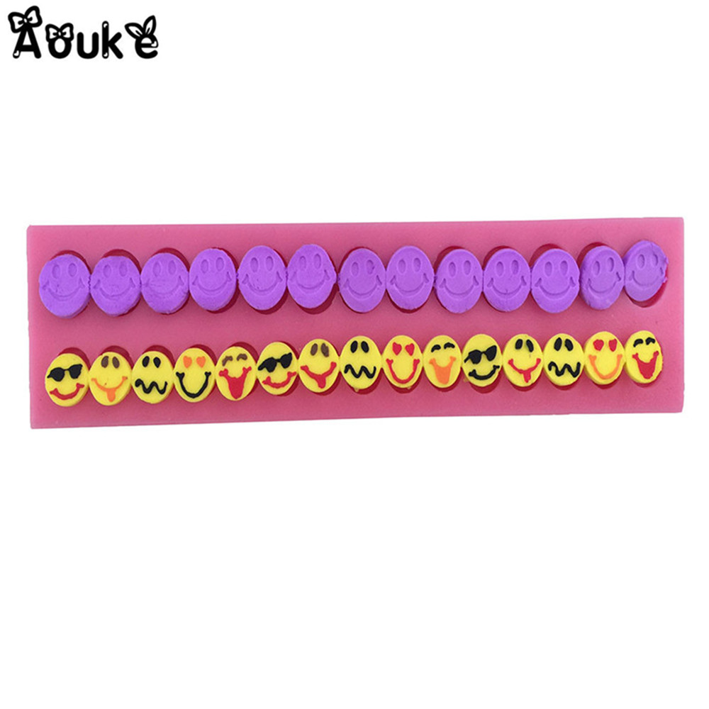 Expression Smiling Face Shape Liquid Silicone Mold Cake Decoration Tools Fondant Chocolate Mold DIY Kitchen Baking Accessories