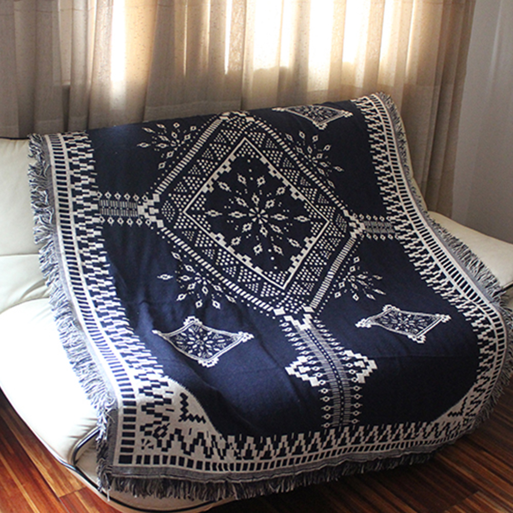 yazi 100% Cotton Blanket Two Different Faced Crochet Thread Throw Sofa Chair Cover Bed Lid Carpets Tapestry соковыжималка supra jes 1870 800 вт нержавеющая сталь чёрный серебристый