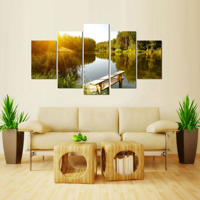 5 Panels Canvas Prints Clear Lake and Dense Wood Landscape canvas ...