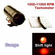 Дракон автомобильный измерительный прибор Регулируемый 1000-11000 RPM Тахометр переключения светильник Тахометр красный/синий светодиодный Алюминий черный/серебристый корпус поверхности