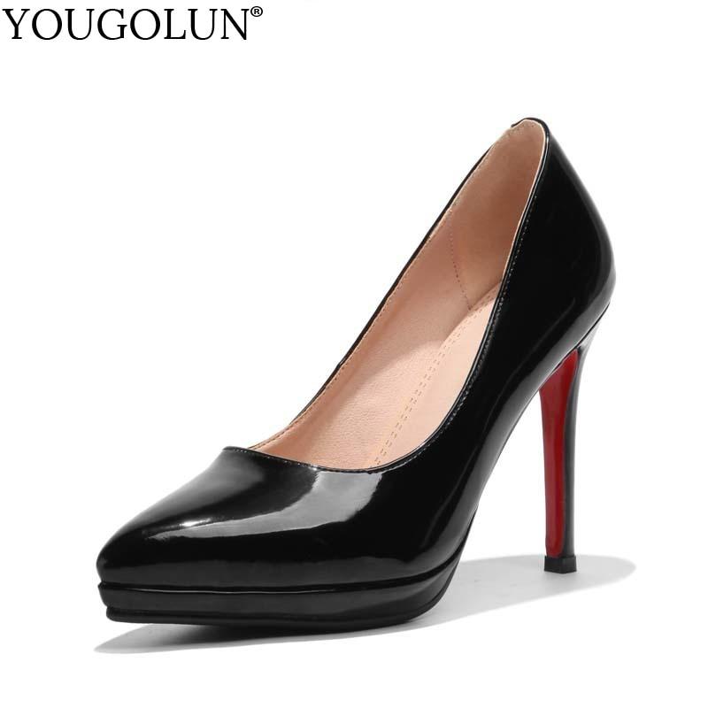 YOUGOLUN נשים משאבות חדש משרד ליידי גבוהה עקבים דקים אלגנטי אישה אדום בלעדי תחתון ורוד שחור צד הבוהן מחודד # A-064