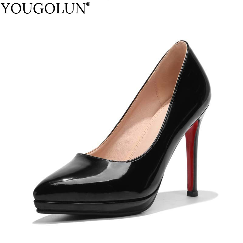 YOUGOLUN Women Pumps New Office Lady High Thin Heels Elegant Woman Red Sole Bottom Pink Black Pointed toe Party Shoes #A-064 canvas shoes women black red jazz shoes ballet dance shoes split heels sole sl02138b2