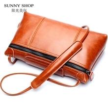 Sunny shop vintage frauen umhängetasche mode weiblichen echtem leder handtaschen markendesigner frauen echt leder umhängetaschen