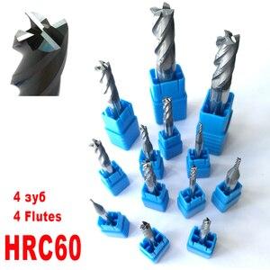 1mm 2mm 3mm 4mm 5mm 6mm 8mm 10mm 12mm 4 Flöten HRC60 Hartmetall Flach platz Schaftfräser Spiral Bits CNC Schaftfräser Fräser