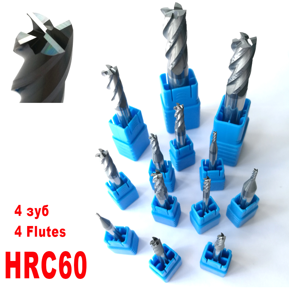 1mm 2mm 3mm 4mm 5mm 6mm 8mm 10mm 12mm 4 Flutes HRC60 Tungsten Carbide Flat square End Mills Spiral Bits CNC Endmill Router Bits long tool life 4 flutes milling tools roughing end mill cutter rough cutter 3mm 4mm 6mm 8mm 10mm 12mm 14mm 16mm cnc router bits