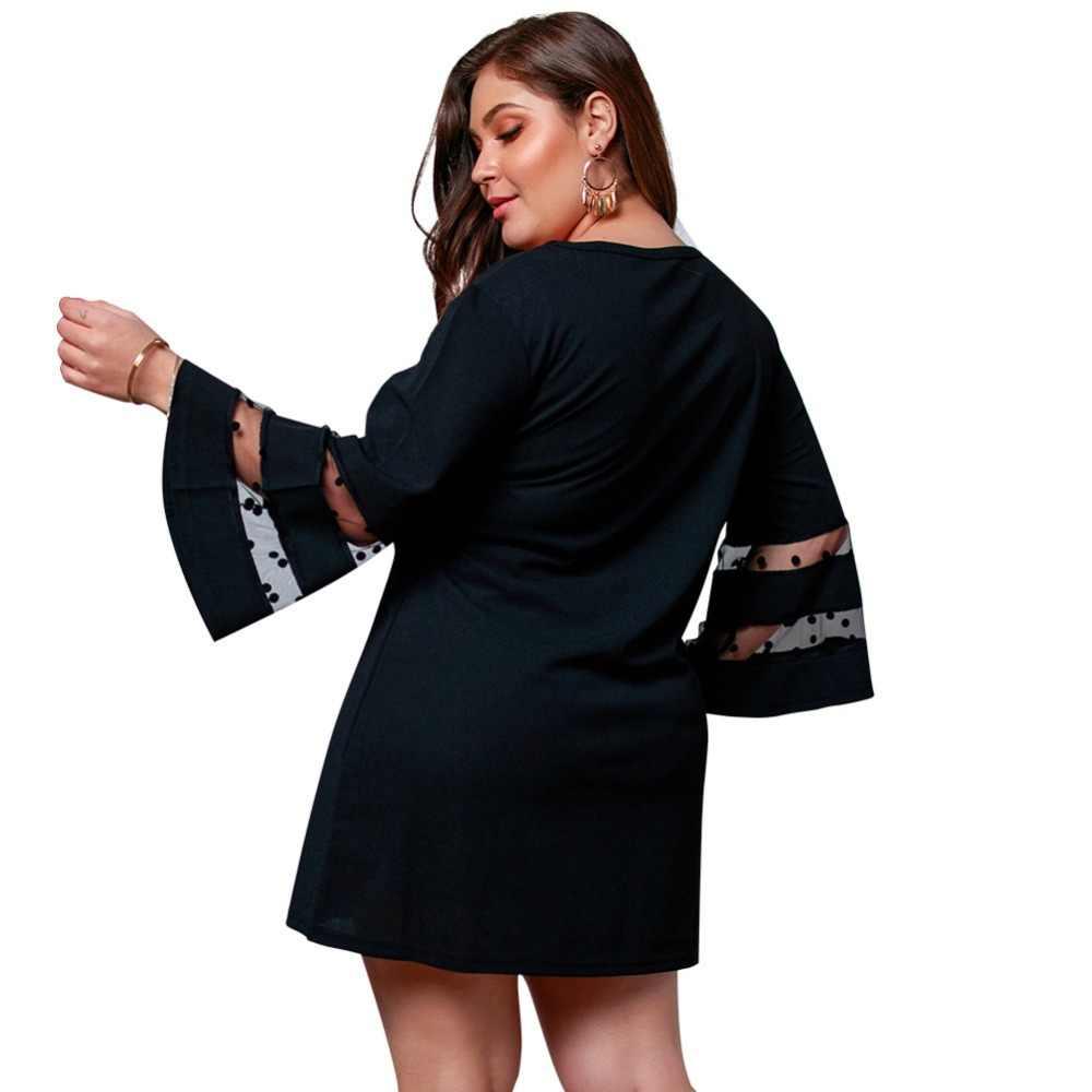 WHZHM Черные Сетчатые Полный Flare рукавом Высокая талия свободно плюс Размеры 3XL 4XL платье Для женщин Повседневное летнее кружевное лоскутное Платье с круглым вырезом