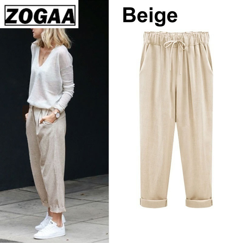 ZOGAA 2019 Fashion Women Ruffles Pants Casual Loose Harem Pants Spring Turnip Trousers Summer High Waist Ankle Length Trousers in Pants amp Capris from Women 39 s Clothing
