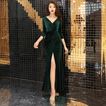 Green Velvet Evening Dresses Long Sleeves robe de soiree longue 2020 Prom Dress abendkleider Robe De Soiree LYFY105