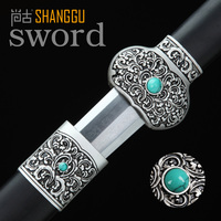 Ancient Mosaic Emerald Sword Steel Plant Motifs Carved General Handmade Oriental King Sword Chinese Martial Arts