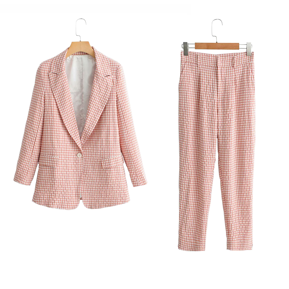 Women Office Lady Summer Plaid Pant Suits Long Sleeve Single Button Blazers Coats And Pants Two Pieces Sets Female Clothes