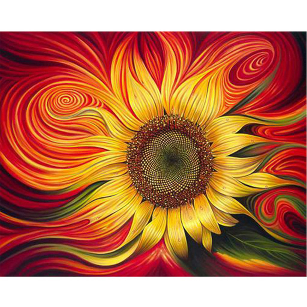 Frameless Sunflower DIY Digital Oil Painting Paint By Number Canvas Artwork Wall Home Decor Christmas