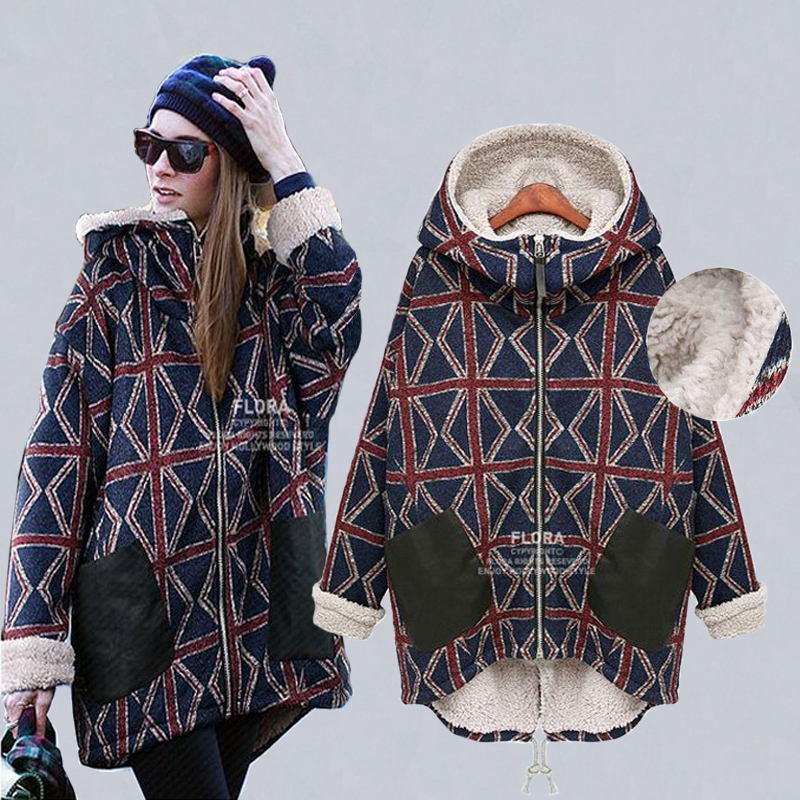 Autumn and winter plus velvet thickening maternity outerwear plus size wadded font b jacket b font