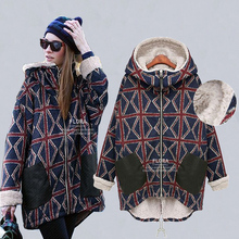 Autumn and winter plus velvet thickening maternity outerwear plus size wadded jacket cotton-padded jacket medium-long 200 top
